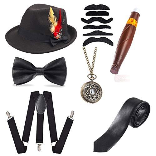 Beelittle 1920 Gatsby Accesorio para Hombre Conjunto Trilby Manhattan Fedora Sombrero, Y-Back Ligas, Gangster Ties, Puff Cigar, Reloj de Bolsillo de la Vendimia (H)