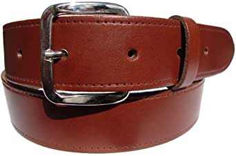 "Black Brown Tan Leather Belts - Smooth grain coated finish - Silver Buckle - 1&1/2"" Wide ((S) - 29"" - 33"", TAN)"