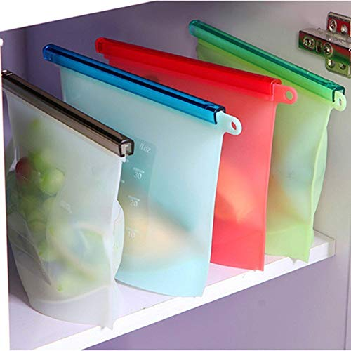 Goodrich 2 Pieces Reusable Silicone Vacuum Food Sealer Bags Wraps Fridge Food Storage Containers Refrigerator Bag Kitchen Colored Ziplock Bags Multicolor