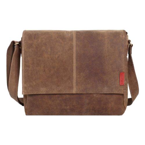 Messenger-Bag / Büchertasche aus geöltem Buffalo Leder 38x29x11 cm von Outback Model: Kalgoorlie, Farbe / Colour:Dark Muskat Natural Buckskin