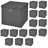 18 Stück Dunkelgrau Faltbox 28 x 28 x 28 cm Aufbewahrungsbox faltbar mit Deckel
