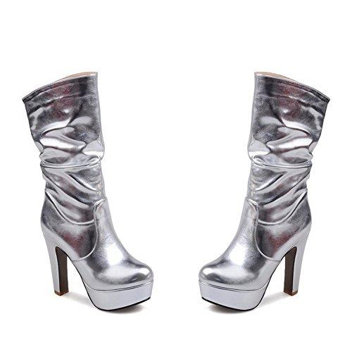 AgooLar Damen Mitte-Spitze Ziehen Auf Hoher Absatz Rund Zehe Stiefel Silber