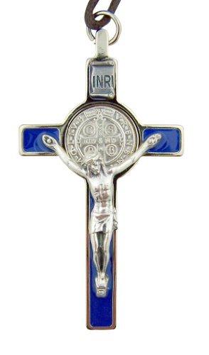 Religious Gifts Silber Ton Blau Emaille Kreuz St. Benedikt Kruzifix mit Kordel und Fall