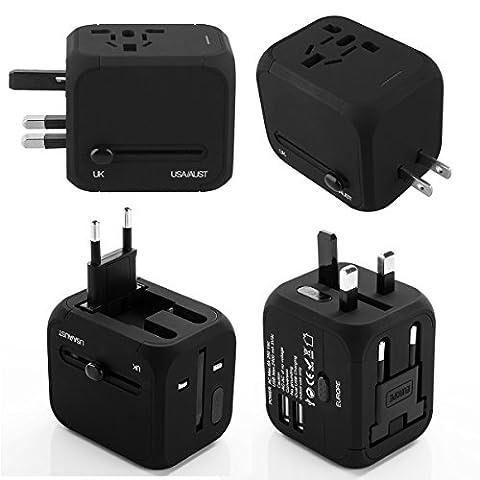Goldfox® Universal Welt Reiseadapter Mit 2 USB Ladegerät Reisestecker Adapter World Travel Adapter für Weltweit 150 Ländern mit EU/UK/US/AU Stecker LED-Betriebsanzeige (Schwarz)