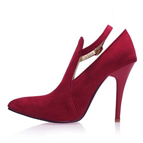 TAOFFEN Femmes Aiguille Escarpins Mode Talons Hauts Pointue Chaussures De Boucle Rouge