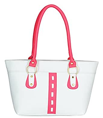 Fristo women handbag (FRB-030)(White and Pink)