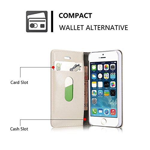 iPhone 5S Hülle, CaseMe PU Leder schutzhülle Handy Tasche Hülle case cover mit Karte Halter Magnetverschluss für iPhone SE/5/5S (braun) Weiß