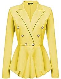 Gelbe Zweireiher Taschen Umlegekragen Ärmellos Elegante Jacken Mantel Blazer Weste Damen