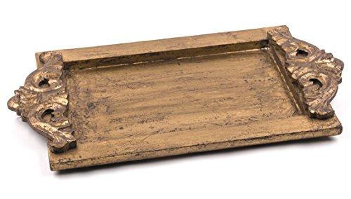 Edles Holz-Tablett 'Bombay' im Kolonial-Stil, handgefertigt Farbe Antik-Gold - Serviertablett