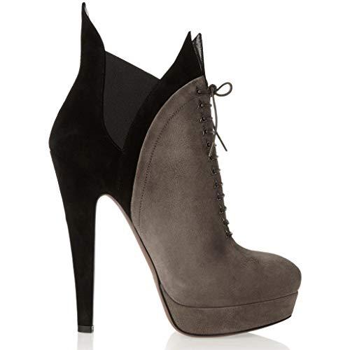 LFF.FF Damen Schlanker High Heel Stiefelettenriemen Römische Schuhe Wasserdichte Plattform Booties Farbabstimmung Wildleder Hoher Absatz (6-8CM),Gray,40 -