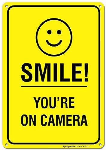 Smile You 're On Camera Video Surveillance Schild 10x 14Rost frei .40Aluminium Adt Alarm