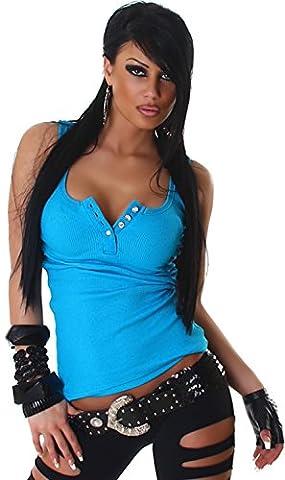 Jela London Haut Shirt Débardeur, Boutons en strass - femme - Turquoise, 36/38