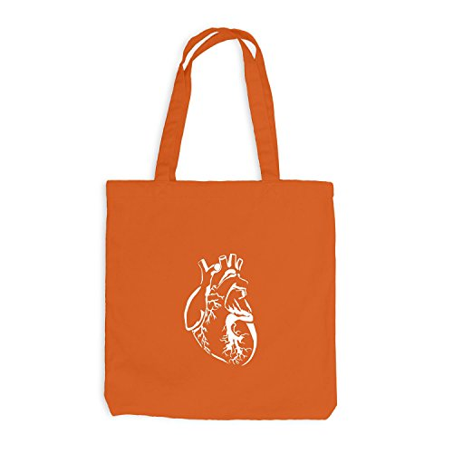 Jutebeutel - Authentic Heart - Herz Style Look Cool Orange