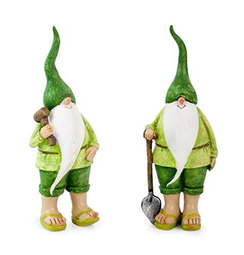 Deko Figur Zwerg Wichtel mit Spaten Hammer aus Polystein grün, 20 cm, Dekofigur Gartenzwerg Wichtelfigur für Garten