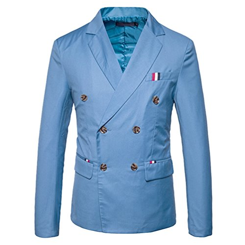 Zhiyuanan Herren Doppelreiher Sakko Blazer Große Größe Anzug Jacke Lässig Smart Mantel Outerwear