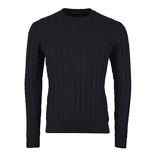 Weekend Offender Woods 1706 Cable Knit Jumper X-Large Navy (Cable X-large Knit)