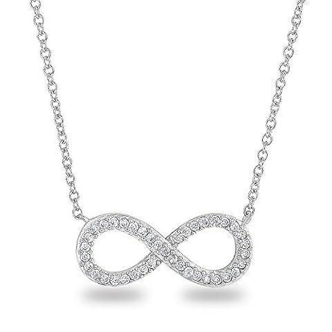 rhodium plaqué argent sterling 925CZ Faux Diamant Symbole Infini Forme classique Chaîne Collier, 45,7cm