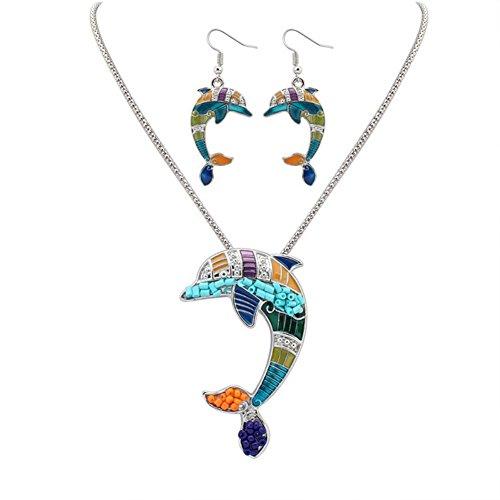 Monbedos Delphin Ohrringe Halskette Set Silber Retro Frauen Schmuck Zubehör Set mit Halskette Ohrringe Set Verkauf