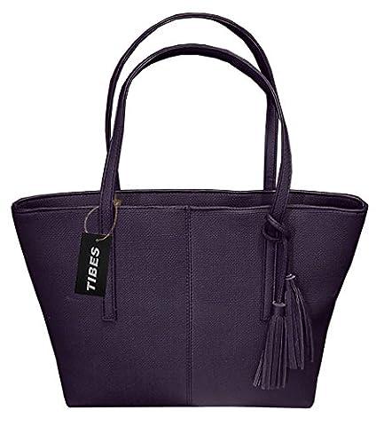 Tibes Damen PU lederne Handtaschen tasche Schwarz