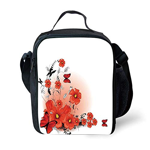 MLNHY School Supplies Poppy,Floral Flash Background with Butterflies Spring Season Hope Inspiration Theme,Red White Black for Girls or Boys Washable -