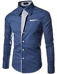 ISSHE Camisas Slim Fit Hombre Camisa Regular Fit Básica Cuello Clásico  Camisas de Vestir Formal Caballero 43958c568dd82