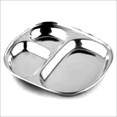 Stainless Steel Two Compartment Round Plate / Thali/ Mess Tray/ Dinner Plate Set of 1 pc.  available at amazon for Rs.179