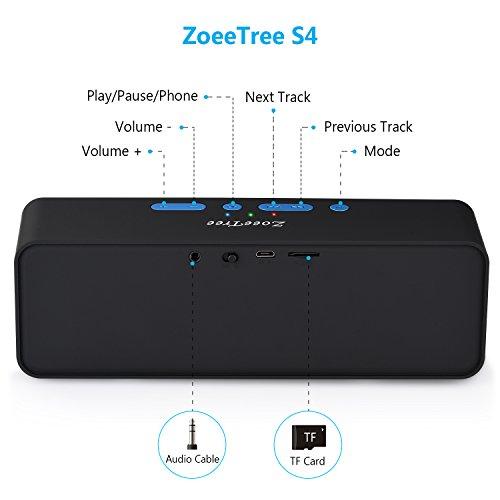 Altavoz Bluetooth  ZoeeTree S4 Subwoofer Inalámbrico Portátil  Altavoces Bluetooth 4.2 estéreo con 10W driver doble  llamadas manos libres  Radio FM  3.5mm AUX/tarjetas TF entrada (Negro)