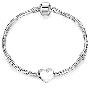 Damen-Charm-Armband mit silberfarbenem Herz und Geschenkbox 22 cm