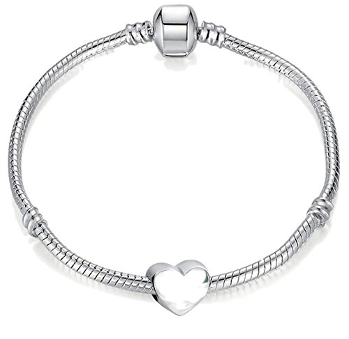 Bracelet à breloques avec cœur Argenté 18cm Pour adolescents