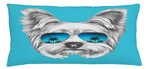 Icndpshorts Yorkie Throw Pillow Cushion Cover, Yorkshire Terrier Portrait with Cool Mirror Sunglasses Hand Drawn Cute Animal Art, Decorative Square Accent Pillow Case, 18 X 18 inches, Blue White