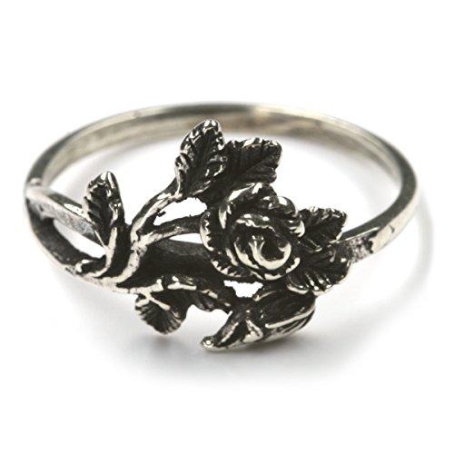 Rose Silberring Damenring Mädchenring Schmuck mit feiner Rose zierlich Gr 48 - 62 lieferbar