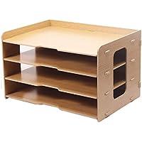 ZHANGLIXIANG WJG Escritorio 4 Layer File Holder, Wooden Multi-Layer Office Bookcase A3 Caja de Almacenamiento de Papel Caja de información A4 Printer Frame (Color : A)