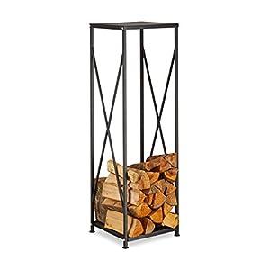 Relaxdays Kaminholzregal aus Gusseisen, pulverbeschichtetes Brennholzregal, Kaminholzständer HBT 111x34x34 cm, Schwarz…