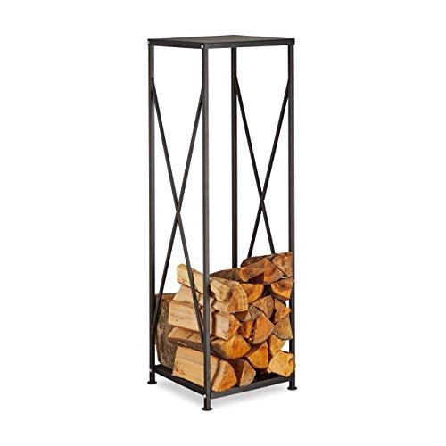 Relaxdays Kaminholzregal aus Stahl, pulverbeschichtetes Brennholzregal, Kaminholzständer HBT 111x34x34 cm, schwarz