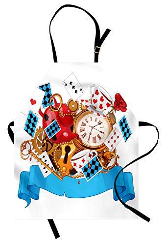 ABAKUHAUS Alice im Wunderland Kochschürze, Mad Design von Karten Uhren Teekannen Schlüssel Blumen Fantasy World Artwork, Farbfest Höhenverstellbar Waschbar Klarer Digitaldruck, Mehrfarbig