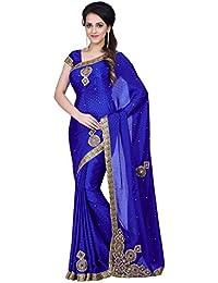 SareeShop Women's Satin Embroidered Saree With Blouse Piece(MancholiBlue-SAREE01_Blue_COLOUR)