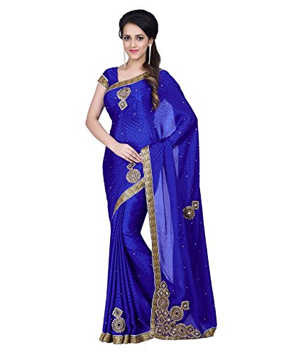 Sareeshop Satin Saree With Blouse Piece (_Blue_Free Size)