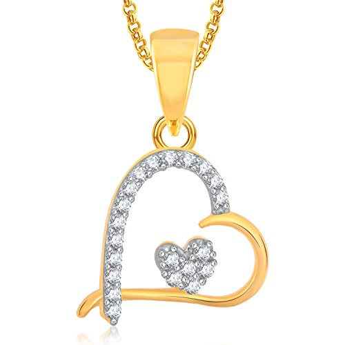 Meenaz Heart Gold Plated Pendant Locket Love Valentine Gifts With Chain In American Diamond Cz Jewellery Set For Girls and Women PS360  available at amazon for Rs.279
