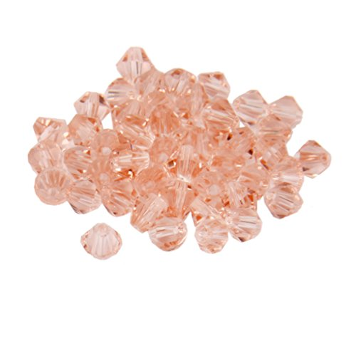 MagiDeal Approx.50pcs Faceted Bicone Shape Glass Beads for Jewellery Making Craft 4mm Light Pink