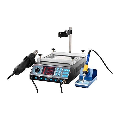 Preisvergleich Produktbild Stamos Soldering - S-LS-10 Basic - Lötstation mit Vorwärmplatte und 2 Halterungen - 1270W – inkl. Basiszubehör – LED Display – ESD-Funktion