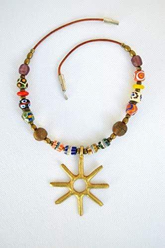 Collana donna etnica fatta a mano, ciondolo sole, Originale regalo donna