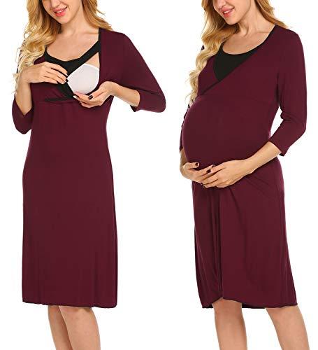 UNibelle Damen Umstandskleid Stillkleid Mutterschafts Kleid 3/4 Ärmel Umstandsmode Schwangerschafts Kleider Nachtwäsche Wein Rot S