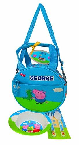 Peppa Pig & George Kinder Lunch Bag mit Kit, perfekt für Pre-Kids! Offiziell lizenziert (BLUE) (Peppa Pig Lunch)