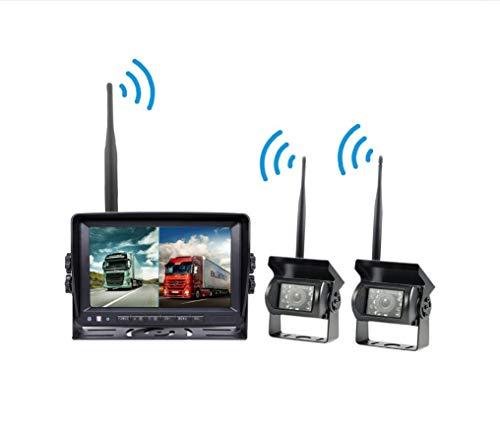 L-WILL Kabellose Backup-Kamera und Monitor-Kit, 7-Zoll-HD-2,4-G-Digitalsignal-Entstörung mit Zwei geteilten Bildschirmen
