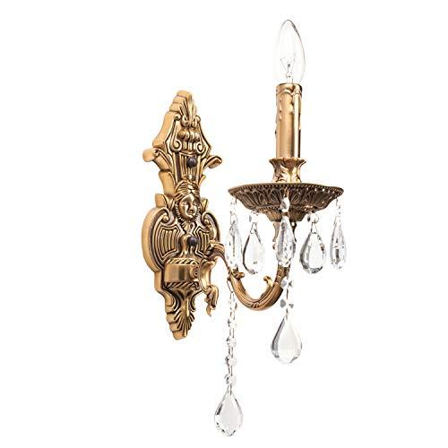 MWLight 301023401 Klassische Kerzen Wandlampe 1 Armig Messing Kristall Barock
