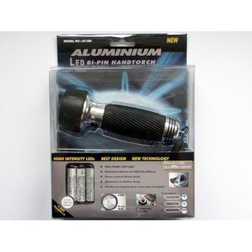 lampe torche DEL aluminium avec 3 diodes EL, électroniquement programmables avec une lampe torche bi-pin (y compris pochette nylon pour 3x AAA) [ ]