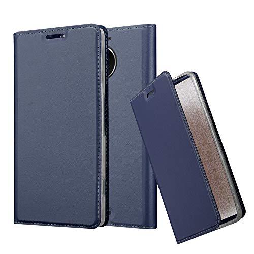 Preisvergleich Produktbild Cadorabo Hülle für Nokia Lumia 950 XL - Hülle in DUNKEL BLAU - Handyhülle mit Standfunktion und Kartenfach im Metallic Look - Case Cover Schutzhülle Etui Tasche Book Klapp Style