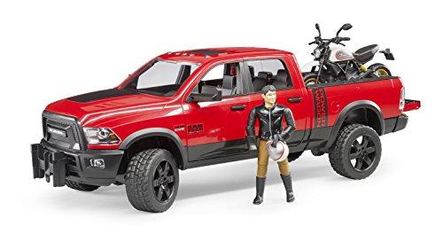 bruder 2502 Fahrzeug RAM 2500 Power Wagon mit Scrambler Ducati Desert Sled und Fahrer, Rot