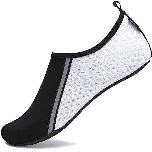 SAGUARO Scarpe da Scoglio Donna Uomo da Immersione Scarpette da Surf Water Shoes Barefoot per Bagno Spiaggia Mare Snorkel Yoga, Bianco 38/39