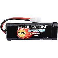 FLOUREON 7.2V 3500mAh NiMH 6 batería recargable de la batería de la célula con el enchufe de Tamiya para los coches populares estándar de RC incluyendo LOSI, asociado, HPI, Tamiya (1 paquete)